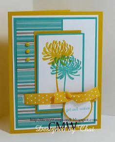handmade greeting card from Me, My Stamps and I: Get Well Wishes ,,, luv the vibrant color combo of Crushed Curry, Bermuda Bay and Whisper White that Chat used for this card ... pretty layers ... well-balanced ... two flowers, one for each color ... great card!! ... Stampin' Up!