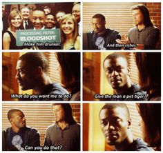"""Eliot not really knowing what Hardison can do. """"What d'you want me to do? Give the man a pet tiger?"""" xD"""
