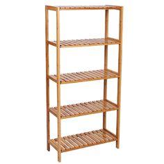 Songmics 5 Tier Bamboo Bathroom Shelf Unit Storage Stand Shelves Shoe Rack  130 Xu2026