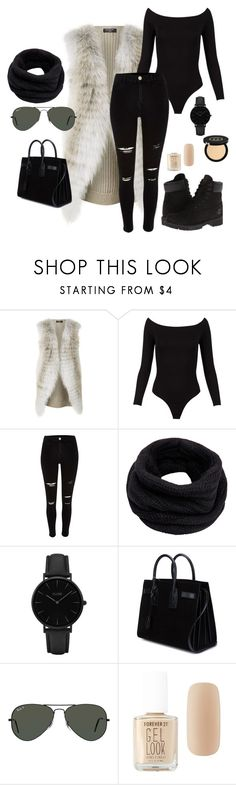 """""""Casual Rock"""" by capeloise ❤ liked on Polyvore featuring Harrods, Timberland, River Island, Helmut Lang, CLUSE, Yves Saint Laurent, Ray-Ban, Forever 21 and Gucci"""