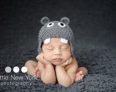 Newborn photo prop, baby hippo newborn/ baby hat.newborn knit hat, newborn boy, newborn girl, newborn props, hippo hat