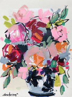 Florals on Paper – C Brooke Ring – colorful flower painting – Florals on Paper … Peony Painting, Floral Paintings, Vase Of Flowers Painting, Flower Artwork, Colorful Artwork, Bright Art, Abstract Flowers, Art Design, Art Pictures