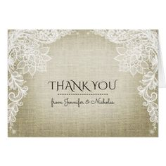 Rustic Burlap and Lace Thank You Card - wedding thank you gifts cards stamps postcards marriage thankyou