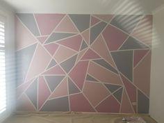 Pink Bedroom For Girls, Pink Bedroom Decor, Girl Bedroom Walls, Bedroom Setup, Bedroom Themes, Dream Bedroom, Pink And Grey Wallpaper, Geometric Wall Paint, Diamond Wall