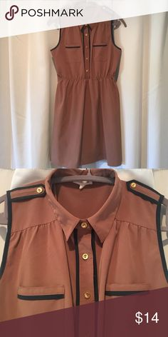 Super cute tank dress! Brown with navy trim and cute gold button accents. I LOVE his dress! Sadly, it just doesn't fit anymore. 😢 my loss is your gain! Elastic waist for fit flare style. So flattering! Hits a couple inches above the knee. Urban Outfitters Dresses