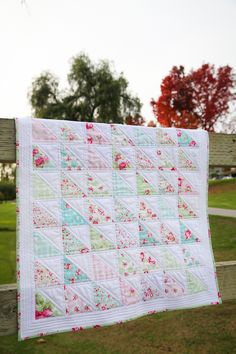 Rosey Half Square Triangle Quilt » Loganberry Handmade