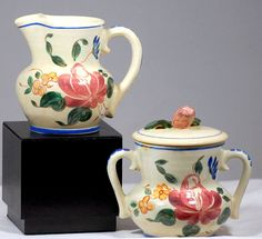 Red Wing Pottery Sugar And Creamer Set Orleans Pattern Hand Painted