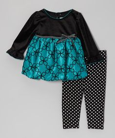 Another great find on #zulily! Youngland Teal & Black Daisy Bubble Tunic & Leggings - Infant by Youngland #zulilyfinds