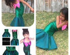 SONG- pink and green mermaid dress, the little mermaid costume, mer sister costume, walkable mermaid tail outfit, ariel costume, mermaid