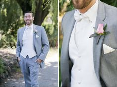 The combo of white vest, shirt and bowtie have a clean, elegant look--and a pale-pink rose boutonniere adds a romantic touch | Oakmont Golf Club in Santa Rosa, CA | Caitlin O'Reilly Photography | Planner:  Carla Waller | Flowers: Stems Florist