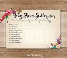 ★ This listing is for a DIGITAL INSTANT DOWNLOAD FILE only. No physical items will be shipped ★   Printable Floral Bohemian Theme Baby Shower Scattergories Game  − − − − − − − − − − − − − − − − − − − YOU WILL RECEIVE − − − − − − − − − − − − − − − − − − −  - JPG files. Each game is 5 x 7. Prints on standard A4 or 8.5 x 11 paper. Prints two per page. − − − − − − − − − − − − − − − − − − −− − − − − − − − − − − − − − − OTHER BABY SHOWER GAMES AND MATCHING ITEMS − − − − − − − − − − − − − − − − − −…