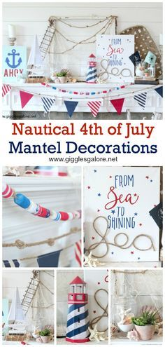 From sea to shining sea these red, white and blue nautical of July mantel decorations will make you feel proud to be an American. Fourth Of July Decor, 4th Of July Party, July 4th, Holiday Crafts, Holiday Fun, Holiday Decor, Holiday Ideas, Christmas Decorations, Baby Shower Games Coed