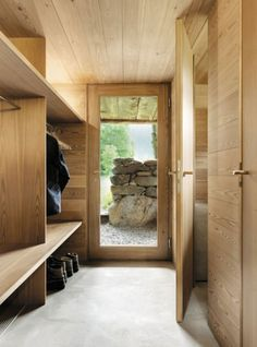 Nestled in the Sarreyer hillside, just beyond a charming village in the Swiss Alps, is a tiny cabin. Designed by Vevey-based firm, Rapin Saiz Architects, the. Chalet Design, House Design, Design Design, Swiss Chalet, Swiss Alps, Plan Chalet, Chalet Interior, Modern Interior, Timber Panelling
