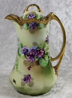 Pickard, Limoges Porcelain (France) —  Coffee Pot.  HandPainted.  (1179x1600)