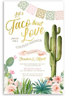 fiesta couples shower, taco couples shower, Mexican couples shower, fiesta invitation, taco bridal s Coed Baby Shower Invitations, Couples Wedding Shower Invitations, Bridal Shower Invitations, Wedding Couples, Custom Invitations, Mexican Invitations, Wedding Ideas, Invitation Wording, Cactus