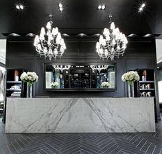 donato salon spa interior design black white contemporary