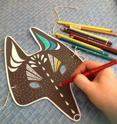 Fox Paper Mask wearable animal handmade DIY
