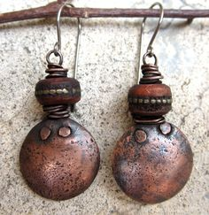 Rosarita Beach. artisan earrings copper disks yak by beatnheart, $44.00