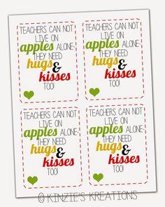 Kinzie's Kreations: Apples, Kisses & Hugs Teacher Thank-you with FREE printable