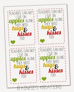 Kinzie's Kreations: Apples, Kisses & Hugs Teacher Thank-you with FREE printable