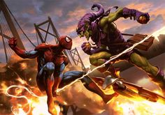 Spider-Man vs Green Goblin (Norman Osborn) Art by Wonchun Choi aka Doo Chun