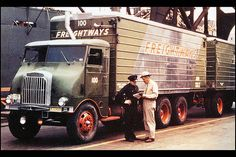 """Early Freightliner """"Shovelnose"""" COE, I wonder how many drivers of that day really wore the full uniform and hat? Big Rig Trucks, Semi Trucks, Old Trucks, Freightliner Trucks, Antique Trucks, Vintage Trucks, Truck Transport, Freight Truck, Road Train"""