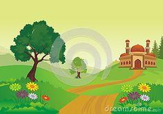 Mosque with beautiful natural scenery – cartoon design, beautiful view, pretty… Moske med vakker natur – tegneseriedesign, vakker utsikt, vakker Islamic Cartoon, Natural Scenery, Cartoon Design, Mosque, Ecology, Illustration, Pretty, Nature, Beautiful