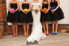 Cute idea if you're going with classic black bridesmaid dresses!