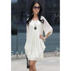 $7.46 Refreshing Casual Plus Size Three Quarter Sleeves Scoop Neck Chiffon Dress For Women