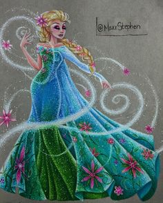 "Elsa from ""Frozen"" - Art by Max Stephen (maxxstephen on Instagram)"