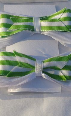 **Green and White Stripe Hairbows - Set of 2