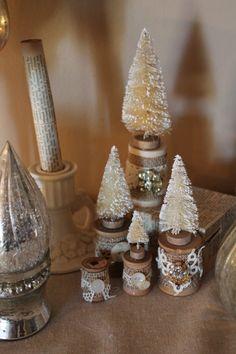 Christmas bottle brush trees on vintage spools