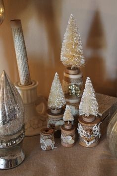 Christmas bottle brush trees on vintage spools