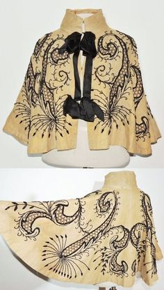 Cream silk Evening Capelet with jet black beading, circa 1890-1900 via Ebay | Short capes like this were worn out to evening social events and the opera. The design on this one makes me think of sea creatures!: