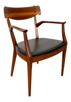 1960s Mid-Century Modern Kipp Stewart Walnut Armchair for Drexel on Chairish.com Guest Bedroom Home Office, Side Chairs, Dining Chairs, Desk Chair, Mid-century Modern, 1960s, Armchair, Mid Century, Furniture