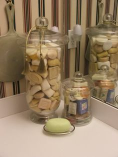 Hotel soap collection creatively displayed with or without wrappers