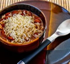 Louisiana Style Red Beans and Rice -a Southern-style slow cooker side dish recipe. It cooks all day and isn't hard to prepare.