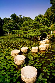 Stepping stones at Heian Shrine Garden, Kyoto, Japan