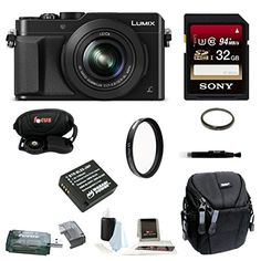 Panasonic LUMIX DMC-LX100 LX100 DMC-LX100K Digital Camera (Black)   Sony 32GB SDHC Class 10 Memory Card   Card Reader   Wasabi Replacement Battery   Case   Accessory Bundle *** Continue to the product at the image link.