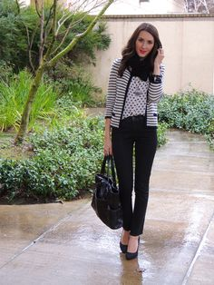 Nice pattern mixing in black and navy.