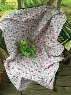 Lightweight summer blanket, Stroller blanket,nursing cover. 100 persent premium quilting cotton  30 X 40 in. Pink and grey mini Owls by LindasQuiltedGarden on Etsy