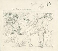 Norm Saunders & Bob Powell - Batman Trading Card Series 1 #30 (Topps 1966) preiminary sketch
