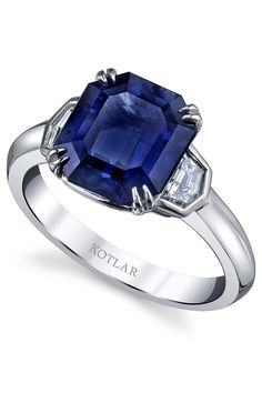 LAB SAPPHIRE Medium Dark Blue Square-Cut 2.65ct Lab Created Sapphire Solitaire Sterling Silver Ring
