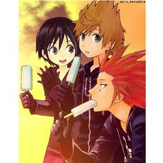 Sea Salt Trio - Xion, Roxas and Axel- Awesome its the manga covers!!