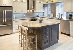 AyA Kitchens   Canadian Kitchen and Bath Cabinetry Manufacturer   Kitchen Design Professionals - Newport Oyster and Madison Slate Grey in Transitional Mission