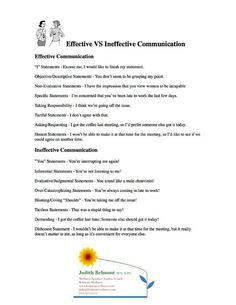 Effective vs Ineffective communication - for more life skills handouts visit… Assertive Communication, Communication Activities, Effective Communication Skills, Communication Relationship, Counseling Activities, School Counseling, Relationships, Counseling Worksheets, Communication Styles