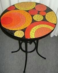 Mosaic round table top in yellows and orange Mosaic Tile Table, Mosaic Coffee Table, Mosaic Diy, Mosaic Garden, Mosaic Crafts, Mosaic Projects, Mosaic Glass, Mosaic Furniture, Painted Furniture