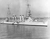 Marblehead was assigned to the Asiatic Fleet from early 1938 until early 1942. After the Pacific War began in Dec 1941, Marblehead operated in the Netherlands East Indies as part of a greatly outnumbered Allied naval force. On 24 Jan 1942 she covered the Battle of Balikpapan, in which U.S. destroyers made a successful attack on Japanese off Borneo. While in the Java Sea on 4 Feb, the Marblehead was hit and near-missed by several enemy bombs.