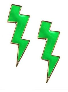 Green Thunderbolt Stud Earrings... Wear them to soccer practices
