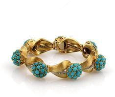 Spritzer & Fuhrmann 18K Yellow Gold Diamonds & Turquoise Floral Leaf Link Bracelet. Turquoise jewelry. I'm an affiliate marketer. When you click on a link or buy from the retailer, I earn a commission.
